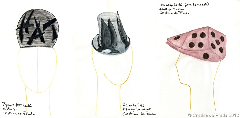 Sketches of the hats I had to make for the final